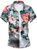 povoljno Muške košulje-Veći konfekcijski brojevi Majica Muškarci Dnevno / Vikend Pamuk Cvjetni print Slim, Print / Kratkih rukava