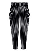 cheap Women's Dresses-Women's Slim Chinos Pants - Striped High Rise