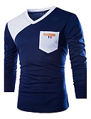 cheap Men's Tees & Tank Tops-Men's Cotton T-shirt - Color Block Blue & White V Neck / Long Sleeve