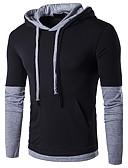 お買い得  メンズTシャツ&タンクトップ-男性用 Tシャツ 活発的 フード付き カラーブロック コットン
