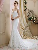 baratos Vestidos de Casamento-De Baile / Sereia Decote Princesa Cauda Corte Renda Vestidos de casamento feitos à medida com de LAN TING BRIDE® / Sem costas