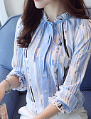 cheap Fashion Belts-Women's Work Blouse - Striped Print Stand / Spring / Fall / Lace up