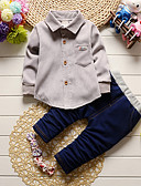 cheap Baby Girls' Clothing Sets-Baby Boys' Indoor Outdoor Casual/Daily School Solid Clothing Set, Cotton All Seasons Long Sleeves Green Gray Wine