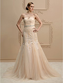 cheap Wedding Dresses-Mermaid / Trumpet Sweetheart Neckline Court Train Lace / Tulle Made-To-Measure Wedding Dresses with Beading / Appliques by LAN TING BRIDE® / Wedding Dress in Color / Open Back