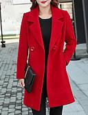 cheap Women's Coats & Trench Coats-Women's Daily Fall / Winter Plus Size Long Coat, Solid Colored Shirt Collar Long Sleeve Cotton / Acrylic Black / Red / Yellow XXL / XXXL / 4XL