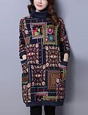 baratos Vestidos de Festa-Mulheres Temática Asiática Algodão Calças Estampado Vermelho / Gola Alta / Para Noite
