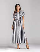 cheap Women's Jumpsuits & Rompers-Women's Party / Going out Street chic Cotton Loose Dress - Striped Split Maxi Shirt Collar