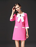 cheap Women's Dresses-Women's Loose Dress - Color Block Bow