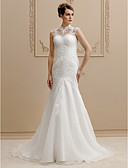 cheap Wedding Dresses-Mermaid / Trumpet High Neck Chapel Train Lace / Organza Made-To-Measure Wedding Dresses with Beading / Appliques / Buttons by LAN TING BRIDE® / See-Through / Beautiful Back