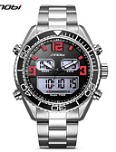 cheap Sport Watches-SINOBI Men's Sport Watch Wrist Watch Japanese Digital 30 m Calendar / date / day LED Dual Time Zones Stainless Steel Band Analog-Digital Luxury Casual Silver - Silver / Red / Shock Resistant