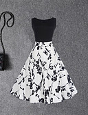 olcso Női ruhák-Női Hüvely Swing Ruha Virágos Magas derekú