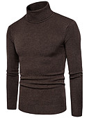 cheap Men's Sweaters & Cardigans-Men's Plus Size Long Sleeve Pullover - Solid Colored Turtleneck