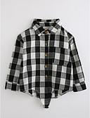 tanie Pianki, skafandry i koszulki-Dla chłopców Kratka Długi rękaw Bawełna Koszula Czarny 100