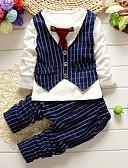 billige Tøjsæt til drenge-Drenge Tøjsæt Ensfarvet, Bomuld Forår Efterår Langærmet Ternet Sort Rød