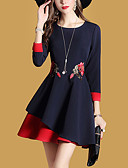 cheap Women's Dresses-Women's Daily / Going out Street chic Mini A Line Dress - Embroidered Formal Style Spring Blue L XL XXL