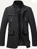 cheap Men's Jackets & Coats-Men's Long Plus Size Cotton Trench Coat - Solid Colored Stand / Long Sleeve