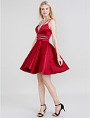 cheap Cocktail Dresses-A-Line Spaghetti Strap Short / Mini Satin Open Back Prom Dress with Sash / Ribbon by TS Couture®