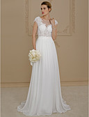 cheap Wedding Dresses-A-Line / Princess Scoop Neck Sweep / Brush Train Chiffon / Lace Made-To-Measure Wedding Dresses with Appliques by LAN TING BRIDE®