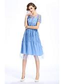 preiswerte Damen Kleider-Damen Hülle Kleid - Druck, Solide Stickerei Knielang