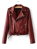 cheap Women's Leather Jackets-Women's Punk & Gothic Leather Jacket-Solid Colored Shirt Collar