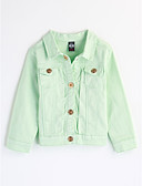 cheap Girls' Clothing-Girls' Solid Colored Long Sleeve Cotton Blouse Green 2-3 Years(100cm)