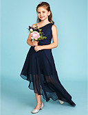 cheap Junior Bridesmaid Dresses-A-Line One Shoulder Asymmetrical Chiffon Junior Bridesmaid Dress with Side Draping by LAN TING BRIDE® / Wedding Party