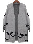 ieftine Paltoane Trench Femei-Pentru femei Zilnic / Muncă Șic Stradă Imprimeu Mată Manșon Lung Mărime Plus Size Lung Cardigan, Rotund Toamnă / Iarnă Negru / Gri XXXL / XXXXL / XXXXXL