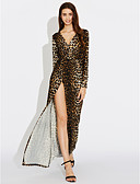 cheap Women's T-shirts-Women's Swing Dress - Leopard, Split Maxi Deep V