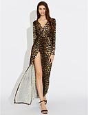رخيصةأون فساتين للنساء-فستان نسائي متموج منفصل طويل للأرض جلد نمر منخفضة V رقبة مناسب للحفلات / مثير