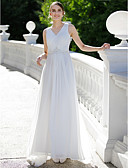 cheap Wedding Dresses-Sheath / Column V Neck Sweep / Brush Train Chiffon Made-To-Measure Wedding Dresses with Appliques / Crystals by LAN TING BRIDE® / See-Through / Beautiful Back