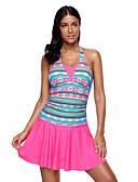 זול 2017ביקיני ובגדי ים-XL XXL XXXL דפוס צבעים מרובים, בגדי ים חלק אחד (שלם) חצאית פול פוקסיה קולר פרחוני בגדי ריקוד נשים / סופר סקסי