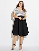 billige Kjoler i plus størrelser-Dame Plusstørrelser I-byen-tøj Vintage Bomuld Swing Kjole - Prikker Knælang Kæreste