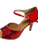 povoljno Hlače-Žene Latinski plesovi Svjetlucave šljokice PU Sandale Unutrašnji Potpetica po mjeri Crn Crvena Pink/Black Crvena