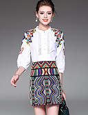 cheap Women's Two Piece Sets-Women's Going out Street chic Shirt - Embroidery, Embroidered Skirt Stand