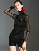 baratos Tops Femininos-Mulheres Camiseta - Feriado / Para Noite Vintage / Moda de Rua Sólido Gola Alta