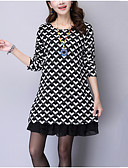 cheap Women's Dresses-Women's Plus Size Going out Street chic Loose Dress - Check