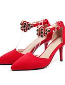 baratos Vestidos de Noite-Mulheres Sapatos Camurça Primavera / Outono Conforto / Inovador Saltos Salto Agulha Dedo Apontado Cristais / Tachas / Presilha Preto /