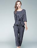 baratos Ternos de Duas Peças Femininos-Mulheres Para Noite Moda de Rua Camiseta Listrado Calça