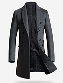 cheap Men's Jackets & Coats-Men's Daily / Weekend Winter Long Coat, Solid Colored Fantastic Beasts Peaked Lapel Long Sleeve 100% Polyester Black / Gray XL / XXL / XXXL / Slim