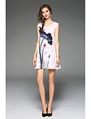 preiswerte Damen Kleider-Damen Strand Ausgehen Lose Etuikleid Kleid - Druck Mini Übers Knie Gurt Weiß