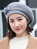 זול כובעים אופנתיים-כובע כומתה (בארט) - אחיד, סוודר פפיון צבע טהור פרחוני כובע סגנון וינטאג' בגדי ריקוד נשים