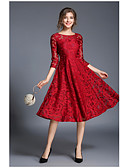 cheap Mother of the Bride Dresses-Women's Going out Sophisticated A Line Dress - Solid Colored Red, Lace / Spring / Summer