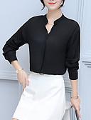 billige Topper til damer-V-hals Skjorte Dame - Ensfarget Fritid Ut på byen