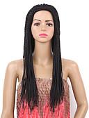 preiswerte Damen zweiteilige Anzüge-Synthetische Perücken Glatt Synthetische Haare Geflochtene Perücke Schwarz Perücke Damen Lang Kappenlos