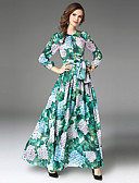 cheap Women's Dresses-Maxlindy Women's Vintage / Sophisticated Puff Sleeve A Line Dress - Floral Bow / Pleated Maxi