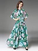 זול שמלות נשים-מקסי פפיון / קפלים, פרחוני - שמלה גזרת A שרוול נפוח וינטאג' / מתוחכם בגדי ריקוד נשים