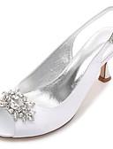 cheap Mother of the Bride Dresses-Women's Shoes Satin Spring / Summer Comfort / Basic Pump Wedding Shoes Kitten Heel / Cone Heel / Low Heel Round Toe / Peep Toe Rhinestone