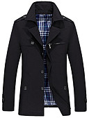 cheap Men's Sweaters & Cardigans-Men's Simple / Casual Long Cotton Trench Coat - Solid Colored / Long Sleeve
