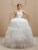 olcso Menyasszonyi ruhák-Hercegnő Szív-alakú Katedrális uszály Tüll / Sztreccs szatén Made-to-measure esküvői ruhák val vel Gyöngydíszítés / Fodrozott által LAN TING BRIDE® / Ragyogó & csillogó / Open Back