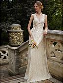 olcso Menyasszonyi ruhák-Szűk szabású V-alakú Földig érő Fénylő csipke Made-to-measure esküvői ruhák val vel Flitter / Selyemövek / Szalagok / Virág által LAN